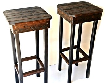 Rustic Bar Stools/Vintage Bar Stools/Farmhouse Bar Stools/Custom Height Bar Stools/Custom Color Bar Stools