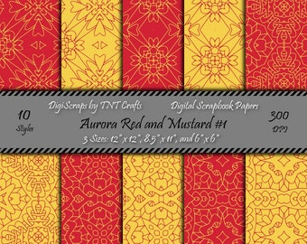 Aurora Red and Mustard Digital Scrapbooking Paper Pack #1; Instant Digital Download; 30 Sheets; 300 dpi; 12x12, 8 1/2x11, 6x6; Personal Use