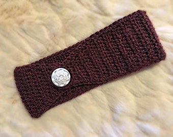 Handmade Crochet Headband-Chestnut Heather