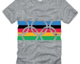 USA Olympics T Shirt Rio Games 2016, Olympic Rings Logo,Vintage Retro Style Tee-54269-G-S/S TEE