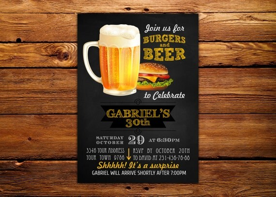 Image result for burgers and beers party invitation