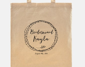 Bridesmaid gift - Tote Bag - 100% cotton goodie bag customized with your wedding date and a name