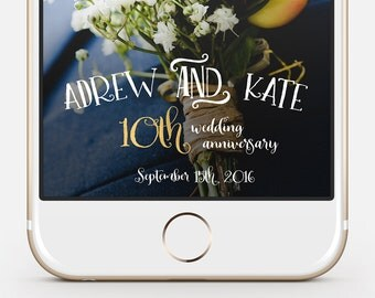 Wedding Anniversary Snapchat Geofilter - fully customizable, instant delivery
