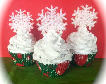 Snow Flake Themed Fake Cupcakes