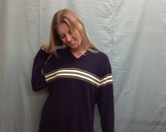 90s vintage Navy green and white stripe pullover sweater