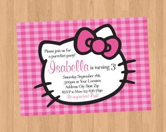 Hello Kitty Pink Gingham Invitation