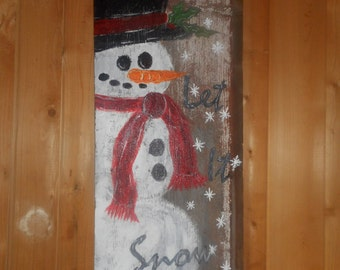 Painted Reclaimed Wooden Sign Snowman Let It Snow