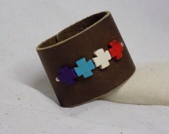 Stone Cross Leather Bracelet