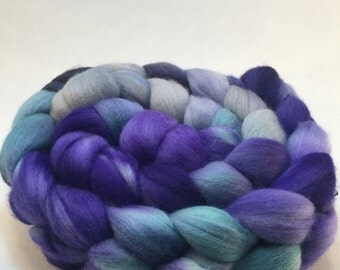 Hand dyed merino top...purple, teal and gray