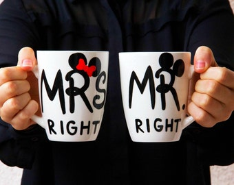 Couple Mug for Coffee, Couple Big Handpainted Mug, Coffee Mug, Coffee White Mug, Coffee Mug for Couple - Mrs and Mr Right