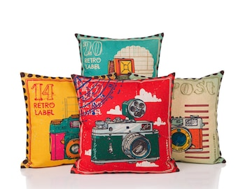 Postage Stamps with Vintage Camera Cushion Cover Collection