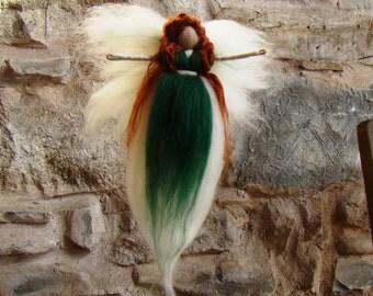Irish colleen fairy, wool needle felt faerie wool angel green angel Irish angel St Patrick's angel Merida angel woodland fairy pagan elf