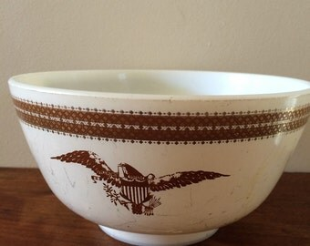 Vintage Pyrex Mixing Bowl with Eagle Print