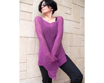Elegant Hand Knit Woman Poncho Sweater Shawl Top Loose Neckline Cape Plus Size Wraps Cape Pink Merlo Purple Color