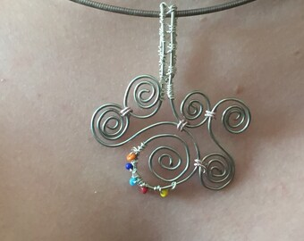 Wire silver necklace pendant