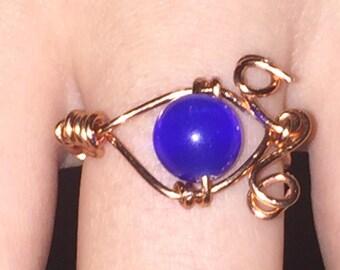 Blue cats eye ring