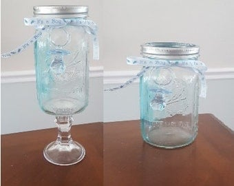 Standard or Tall Mason Jar Blue Tinted/Colored Baby Boy Shower Centerpiece