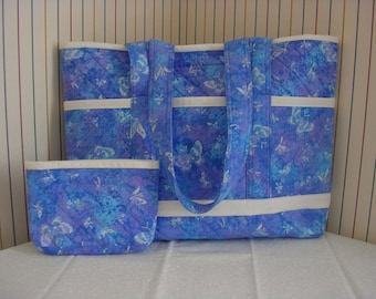 Blue and Purple with Butterflies Quilted Tote Bag, Lrg, with matching Pouch