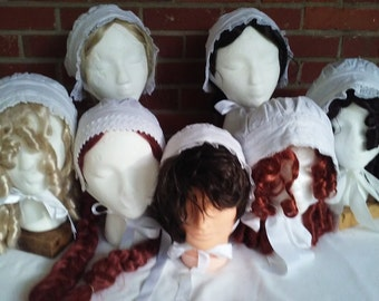 Ladies'/girls' white cotton, sheer and flannel victorian caps