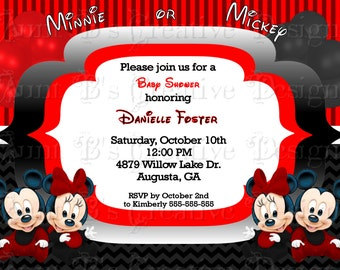 Baby Minnie & Mickey Baby Shower Invitation, Disney Babies Inspired Baby Shower Invitation