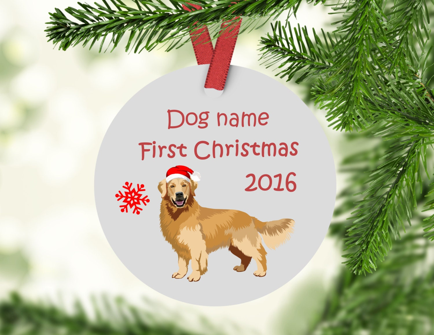 Golden Retrievers First Christmas Ornament - ceramic