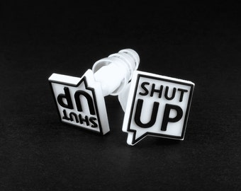 Leave Me Alone Plugs with SHUT UP logo.