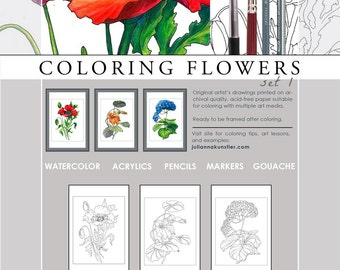 "Coloring Flowers 1. Coloring prints. ""ART of COLORING"" series. Set of three 12""x18"" prints. ISBN 9780997617566"