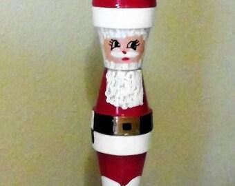 Vintage Clay Pot Hand Painted Santa