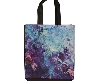 Shopping Tote Bag Marble Purple Blue Pink Storage Travel Gym Beach Reusable