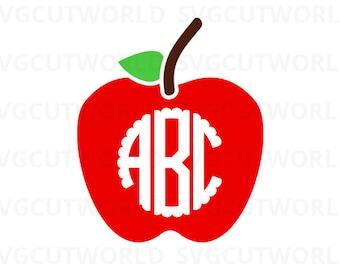 Apple Svg, Teacher Svg, Apple Monogram Svg, use with Cricut & Silhouette