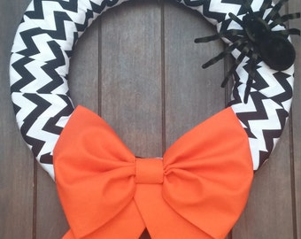 Halloween Wreath, Fall Wreath, Orange Wreath, Black and White Wreath