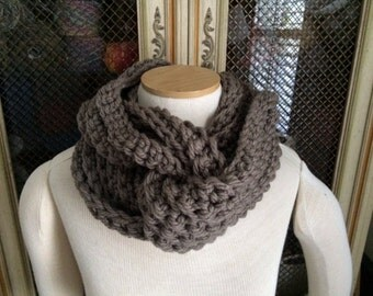 Hand Crocheted Infinity Scarf in Taupe - Ready To Ship