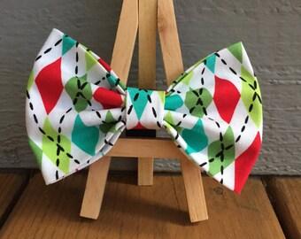 Argyle bow tie, argyle dog bow tie