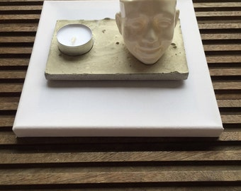 Handmade cement tea light holder with ceramic white planter