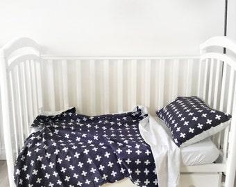 SALE Baby Bedding - Nursery Bedding - White Cross Bedding - Baby Bedding Crib - Unique Bed Clothing - Handmade Bedding Set - Navy And White