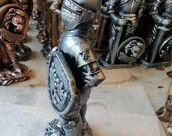 Statuette Knight of Plaster handmade perfect gift height about 9 inch