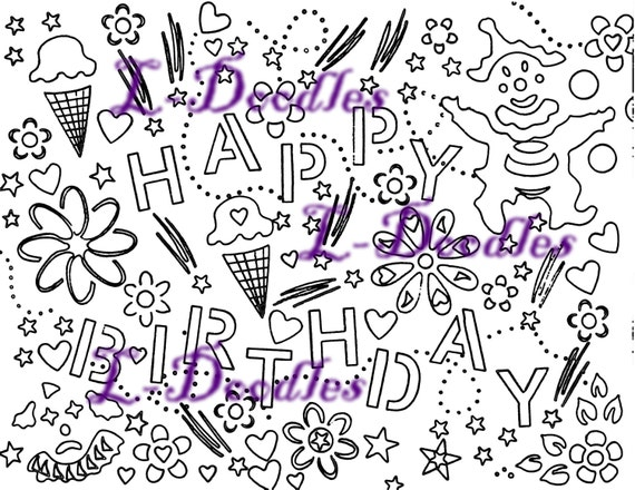 Happy Birthday Coloring Page For Adults Or By LdoodlesShop