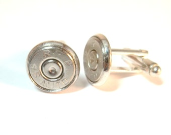Bullet Jewelry- 45 Caliber Bullet Nickel Cuff Links