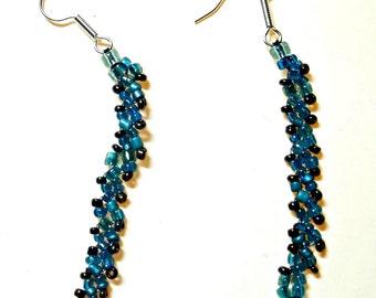 Aqua Glass Bead Dangling Hook Earrings