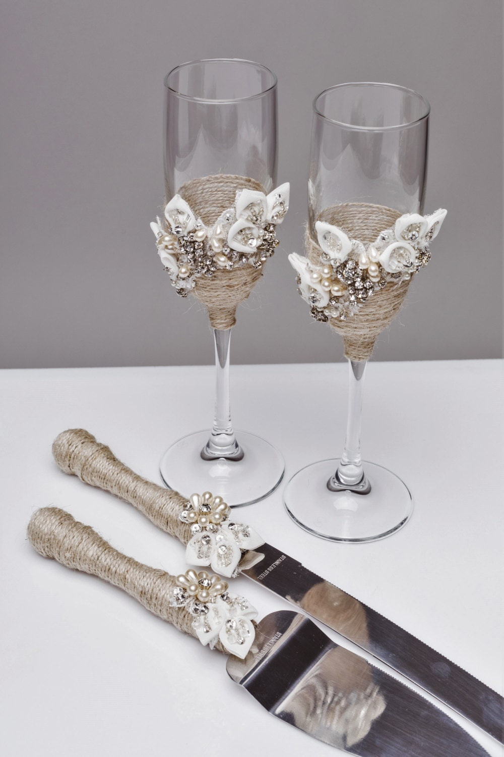 Personalized Wedding Glasses And Cake Server Set Cake Cutter