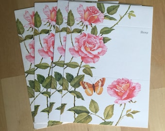 Set of 4 vintage fold over greeting cards.  Roses and butterfly postalettes