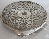 "1950's Decorative Pierced Filigree Tea Pot Holder Trivet Rest 5"" - 4-Footed EPNS Manco Plate Made in England"