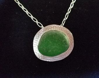 Emerald green sea glass pendant