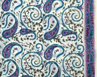 Sky blue and Purple Paisley block Print fabric