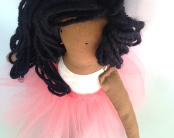 cloth doll, rag doll, ballerina doll, heriloom doll, african american doll, natural hair doll, black doll, pink doll, fabric doll