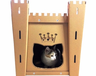 Cat's Fortress Cardboard Cat House,Cat Furniture,Cat Bed,Cat Cave,Cat Toy,Pet House,Cardboard Furniture,Cat Condo,Personalized Gift