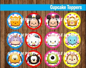 Tsum Tsum cupcakes toppers, Printable Tsum Tsum toppers, Tsum Tsum party toppers instant download