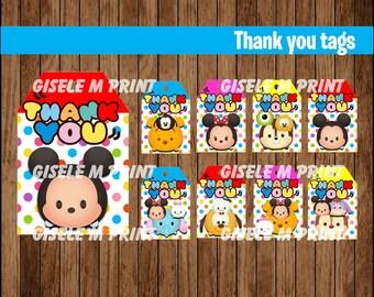 Tsum Tsum Thank You tags, Printable Tsum Tsum gift tags, Tsum Tsum party Thank You tags instant download