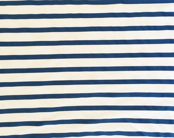Blue and White Striped spandex fabric, 4 way stretch