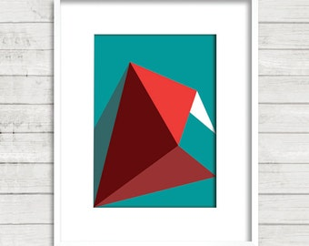 3d effect/poster/geometric/modern/printable/digital download/original/uniqe/ digital/Art #Turquoise-FireBrick-Red -White